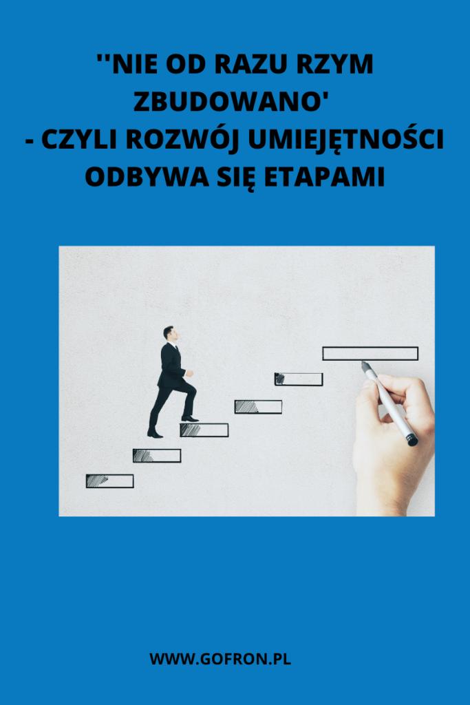 Rozwój umiejętności sprzedażowych odbywa się etapami.  Każdy z nich jest szczególnie ważny i niezbędny, by zrobić następny krok.